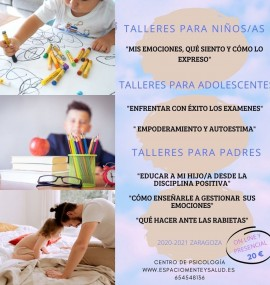 Cartel para el taller para niños en Zaragoza